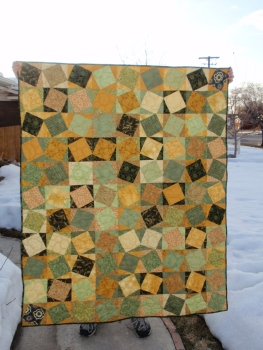 Green/Gold Quilt Front