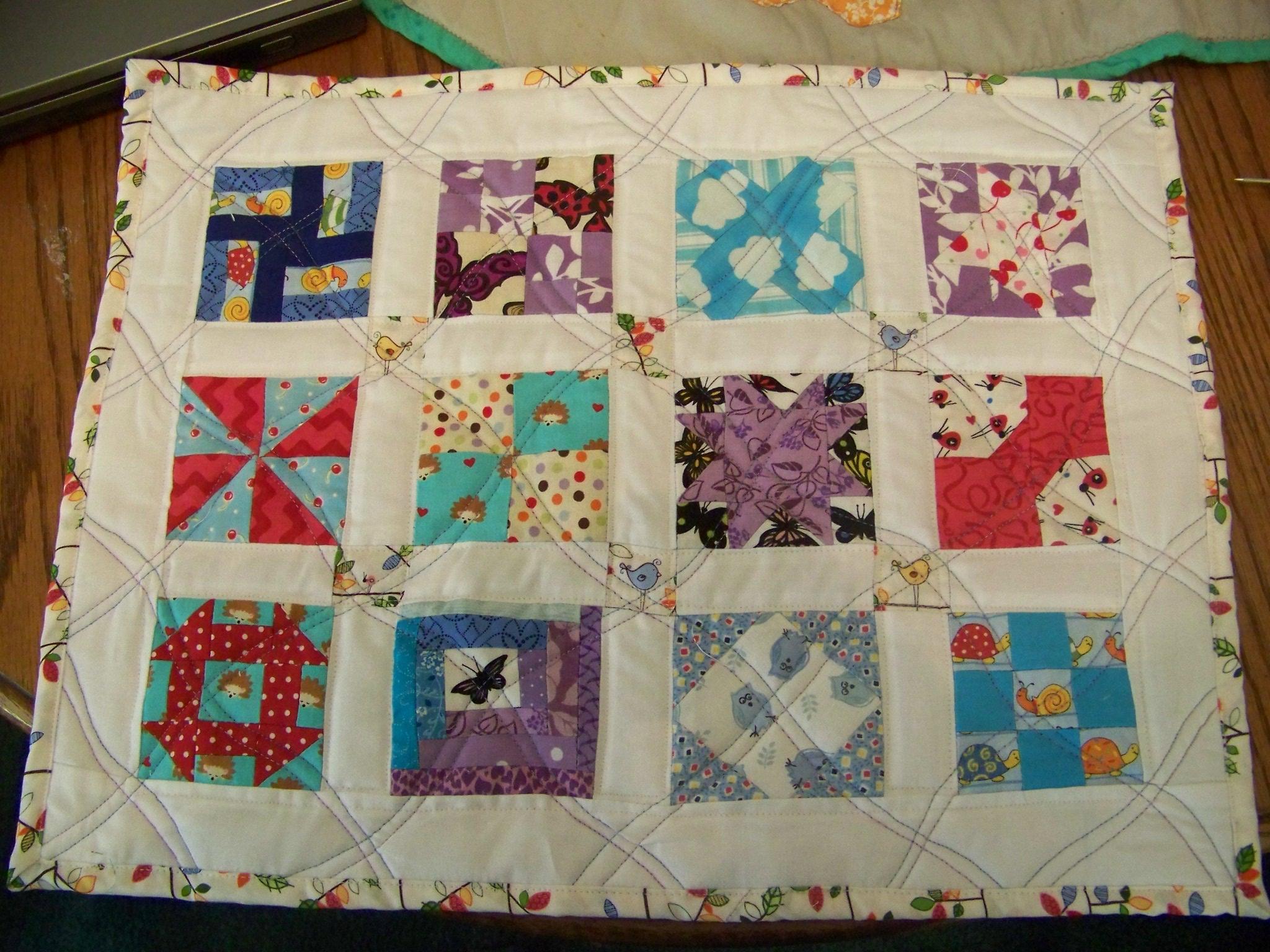 Tutorial sew small sampler quilt wedding dress blue