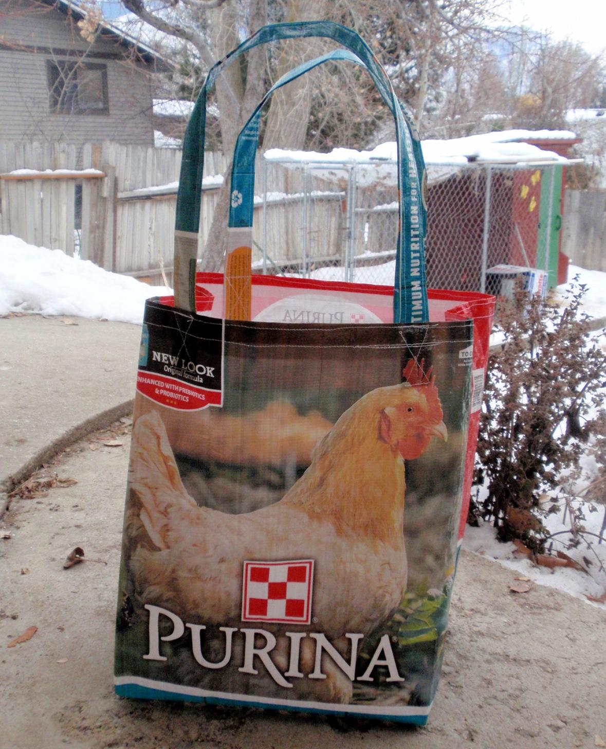 Recycled Dog Feedbag Grocery Tote Bag Sack