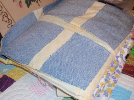 one denim quilt, mostly